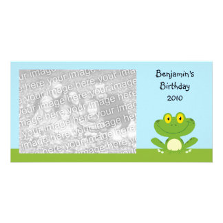 Rana verde linda tarjeta fotográfica