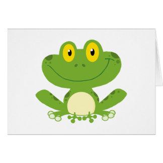 Rana verde linda tarjeta pequeña