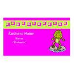 Rana verde linda tarjetas de negocios