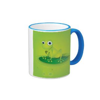 Rana verde minúscula en una taza de WaterLily