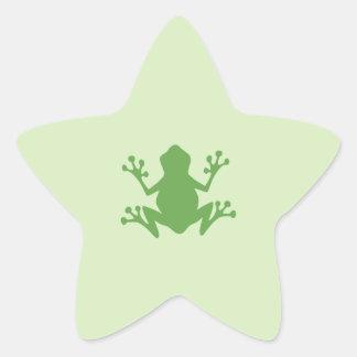 Rana verde calcomania forma de estrella