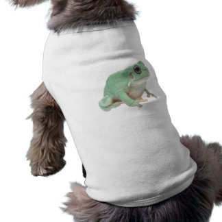 Rana verde playera sin mangas para perro