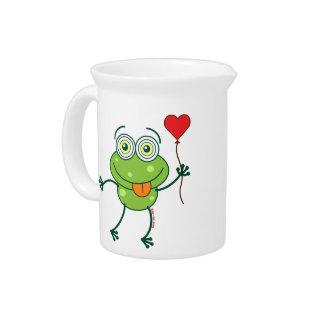 Rana verde que cae enojado en amor jarron