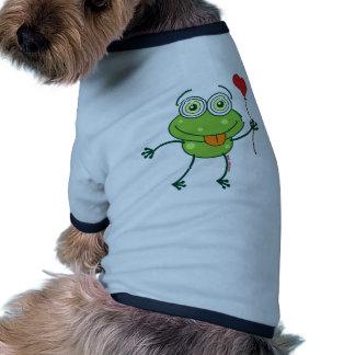 Rana verde que cae enojado en amor prenda mascota