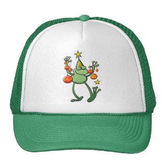 Rana verde que celebra con las chucherías del navi gorro de camionero