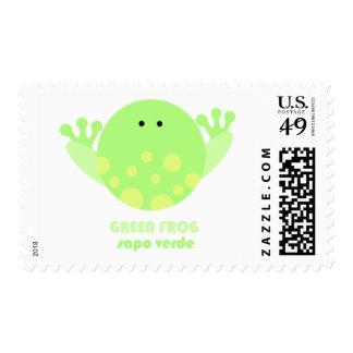 Rana verde Sapo Verde Estampilla