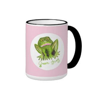 rana verde tazas de café