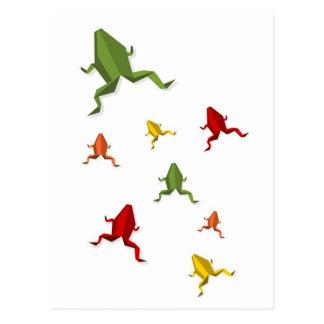 rana vibrante de los colores del origami tarjetas postales