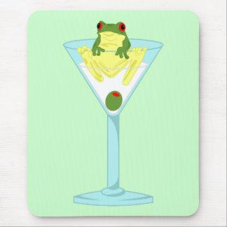 Rana y aceituna en el vidrio de Martini Tapetes De Ratón