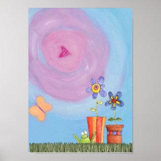 rana y flores impresiones