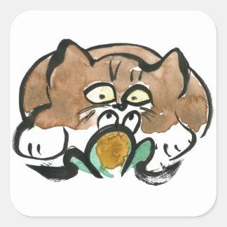 Rana y gatito del smoking de Brown Pegatina Cuadrada