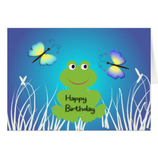Rana y mariposa lindas. Feliz cumpleaños Tarjetas
