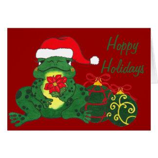 Rana y ornamentos - tarjeta de Navidad de Santa