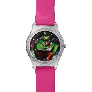 Ranas arbóreas observadas rojo relojes de pulsera