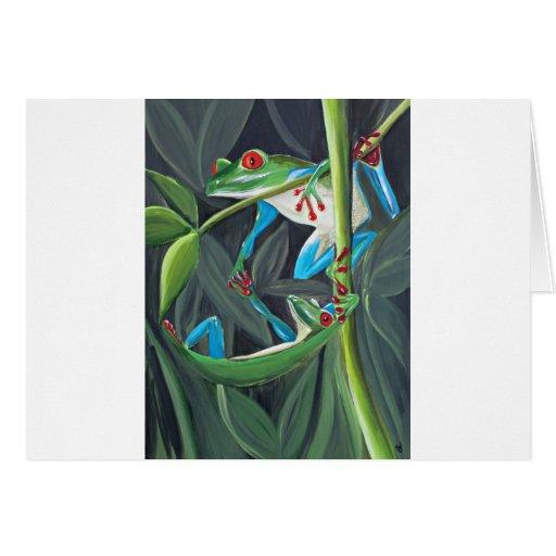ranas arbóreas tarjeta de felicitación