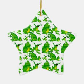 Ranas asustadas curiosas enojadas de las emociones adorno navideño de cerámica en forma de estrella