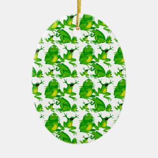 Ranas asustadas curiosas enojadas de las emociones adorno navideño ovalado de cerámica