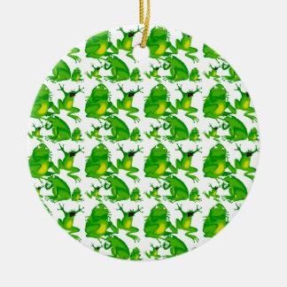 Ranas asustadas curiosas enojadas de las emociones adorno navideño redondo de cerámica