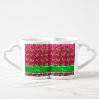 Ranas conocidas personalizadas del brillo del rosa taza para enamorados