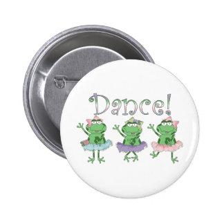Ranas de la danza de la bailarina pin redondo de 2 pulgadas