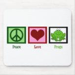 Ranas del amor de la paz alfombrilla de ratones