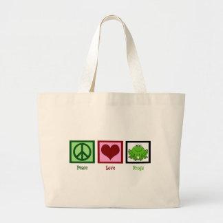 Ranas del amor de la paz bolsa de tela grande