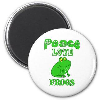 Ranas del amor de la paz imán redondo 5 cm