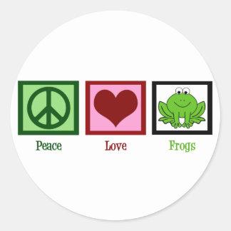 Ranas del amor de la paz pegatina redonda