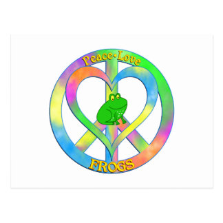 Ranas del amor de la paz postal