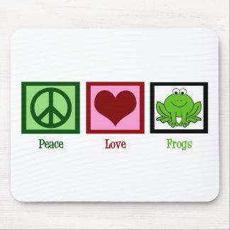 Ranas del amor de la paz mousepads