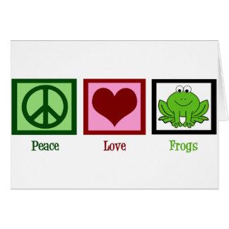 Ranas del amor de la paz tarjeta de felicitación