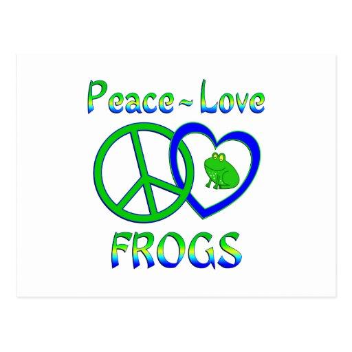 Ranas del amor de la paz postales