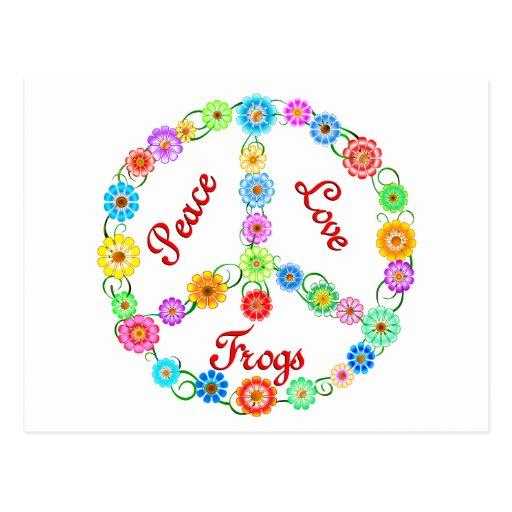 Ranas del amor de la paz tarjeta postal