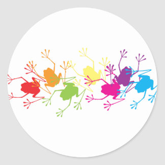 Ranas del arco iris etiqueta redonda