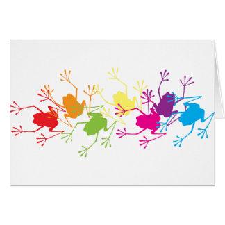 Ranas del arco iris tarjeta de felicitación