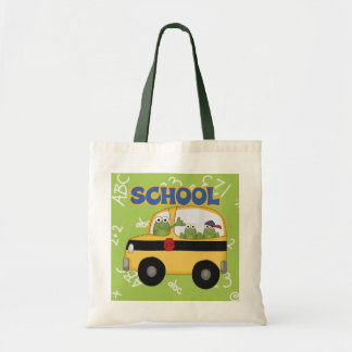 Ranas del autobús escolar bolsa lienzo