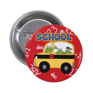 Ranas del autobús escolar pin redondo 5 cm