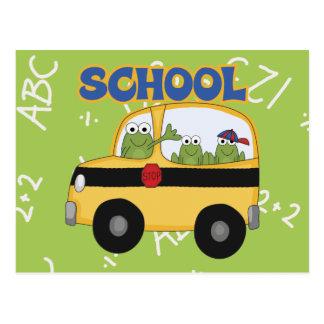 Ranas del autobús escolar tarjeta postal