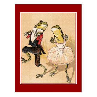 Ranas del baile del vintage postales