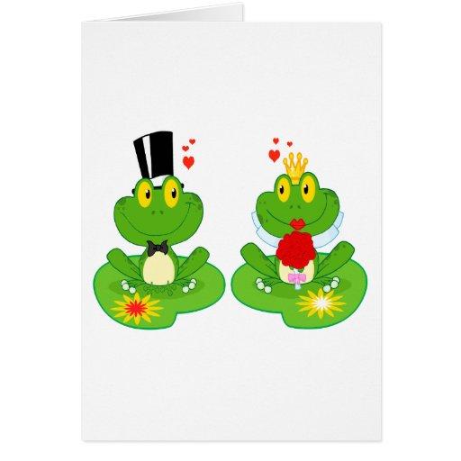 ranas del froggy de novia y del novio felicitacion