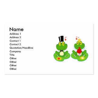 ranas del froggy de novia y del novio tarjetas de visita