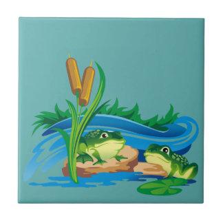 Ranas del pantano azulejo cuadrado pequeño