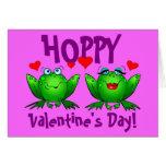 Ranas divertidas del día de San Valentín de lúpulo Felicitaciones