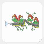 ranas divertidas del froggy del bombero pegatina cuadradas personalizada
