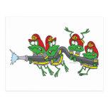ranas divertidas del froggy del bombero tarjetas postales