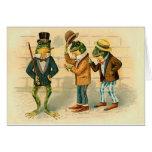 Ranas divertidas del vintage tarjetas
