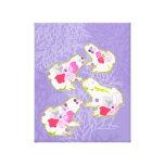Ranas en fondo violeta en colores pastel lona estirada galerías