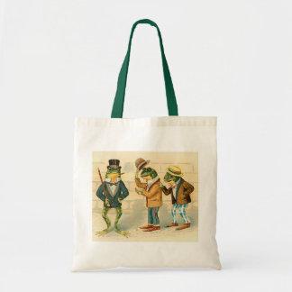Ranas en la calle - arte del vintage bolsa
