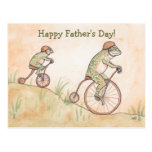 Ranas en la postal del día de padre de las bicicle