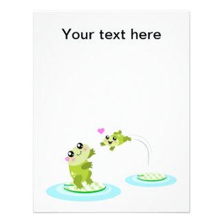 Ranas lindas - madre del kawaii y rana del bebé invitaciones personalizada